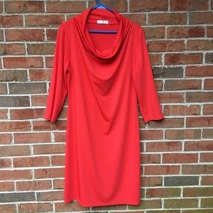 EUC Natori Orange Cowl Neck Dress  Sz Lg